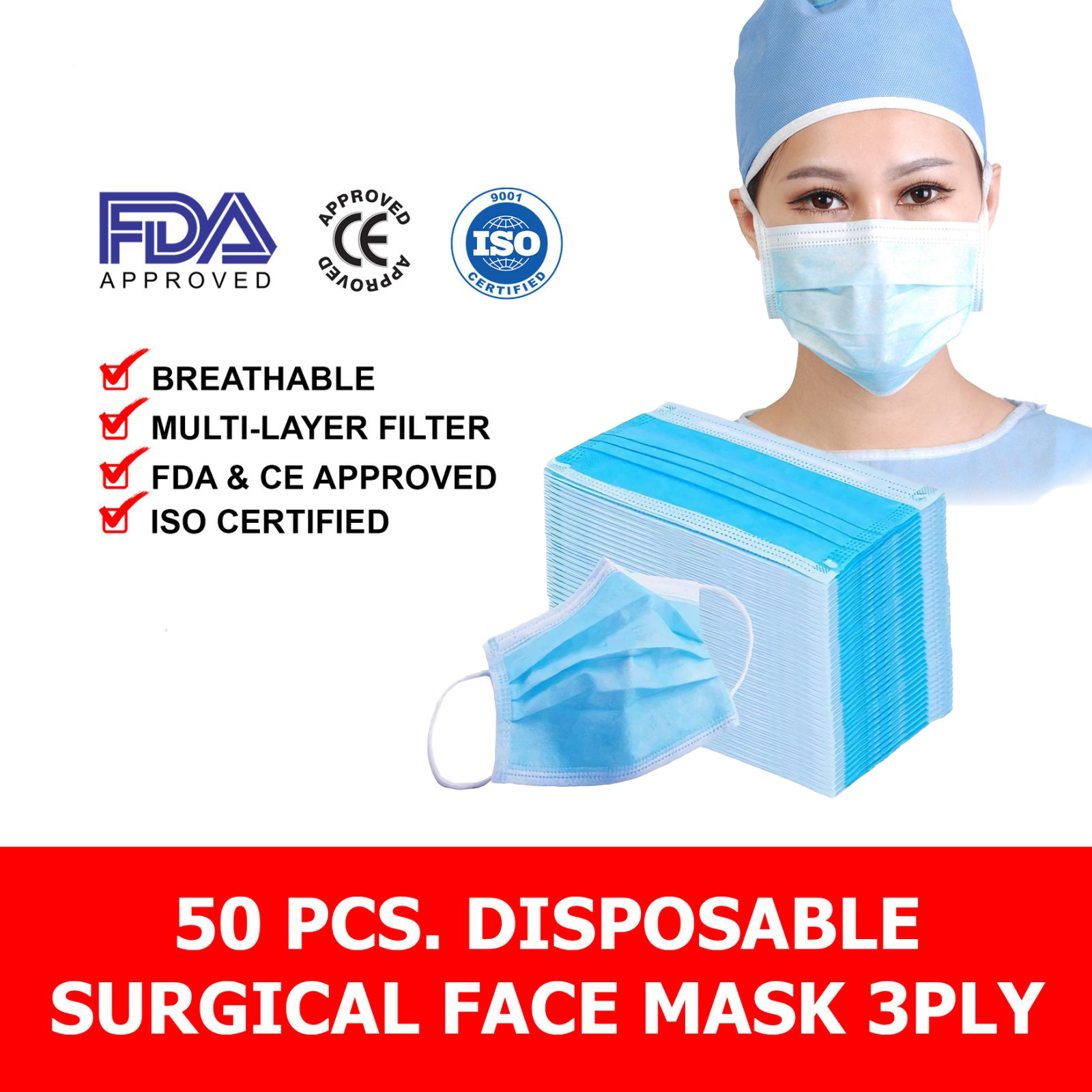 Image of NATURE'S RAIN FACE MASK 3PLY MEDICAL SURGICAL 1 BOX 50PCS